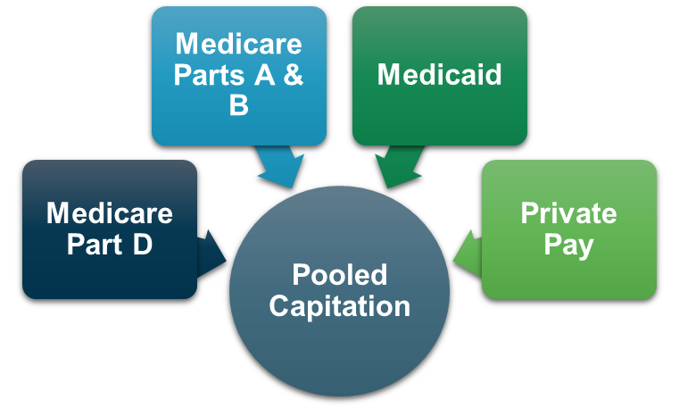 PACE pooled capitation consists of four main funding sources: Medicare Parts A & B, Medicare Part D, Medicaid, and Private Pay.